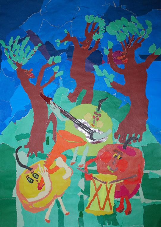 """Відзнака за оригінальність техніки виконання Тетяна Пастушок, 12р. """"Яблуні звільнились, яблука достигли"""""""